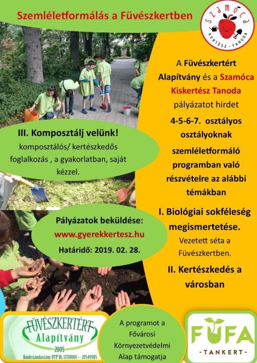 Szemléletformálás a Füvészkertben 2019, pályázat iskolásoknak